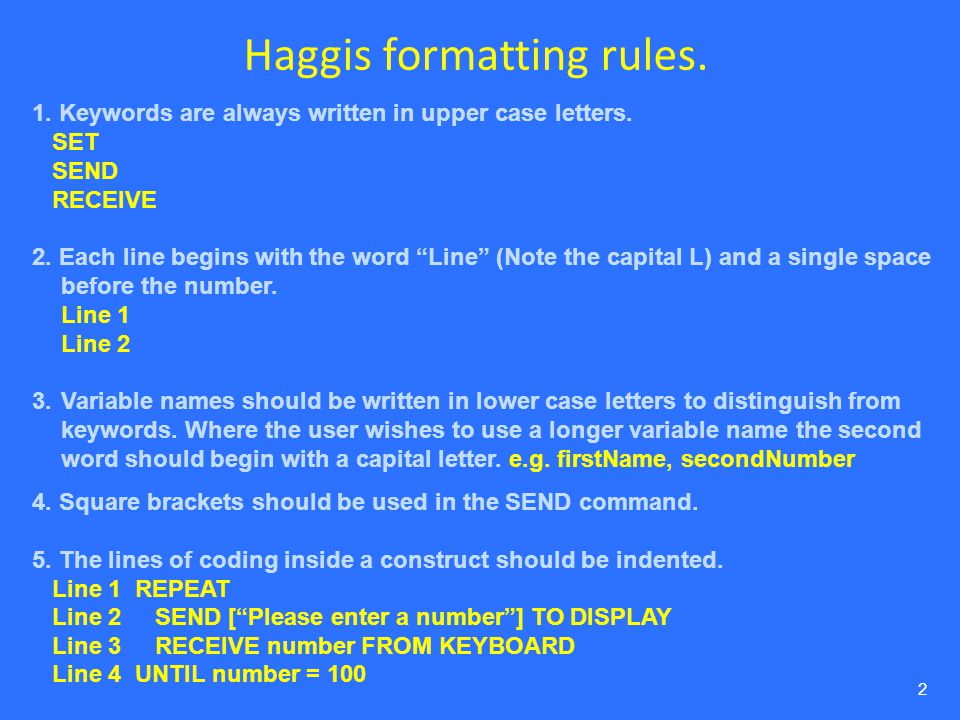 Haggis formatting rules.