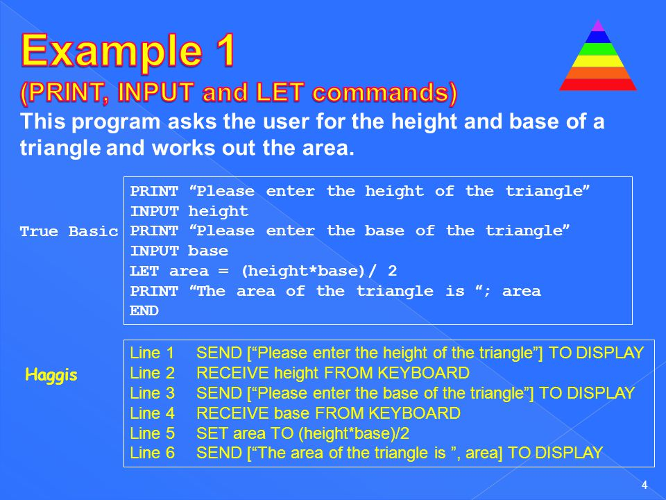 Example 1 (PRINT, INPUT and LET commands)