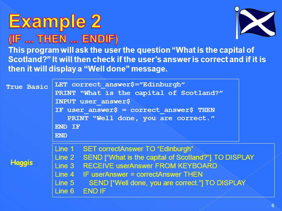 Example 2 (IF ... THEN ... ENDIF)