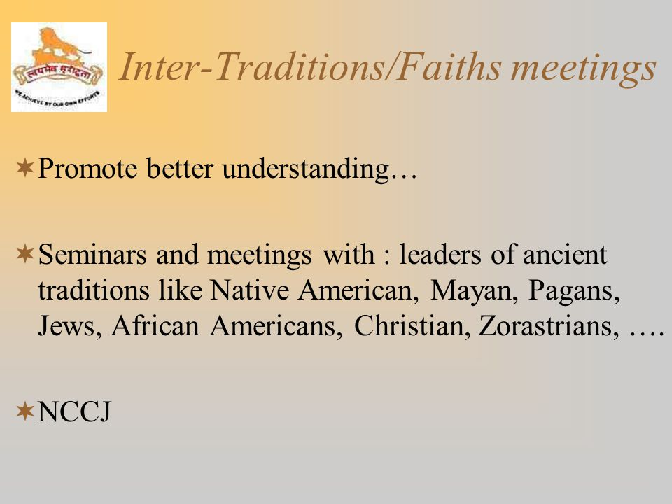 Inter-Traditions/Faiths meetings
