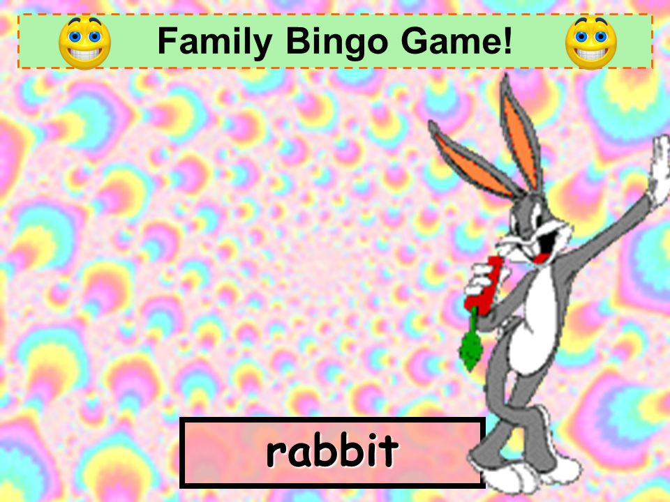 Family Bingo Game! rabbit