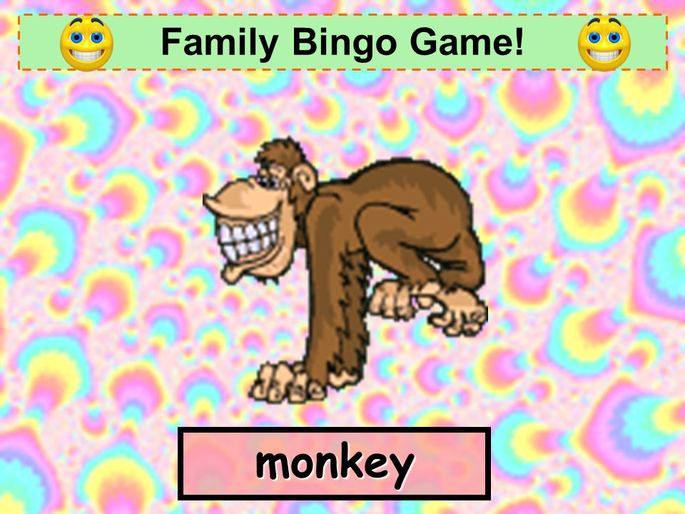 Family Bingo Game! monkey