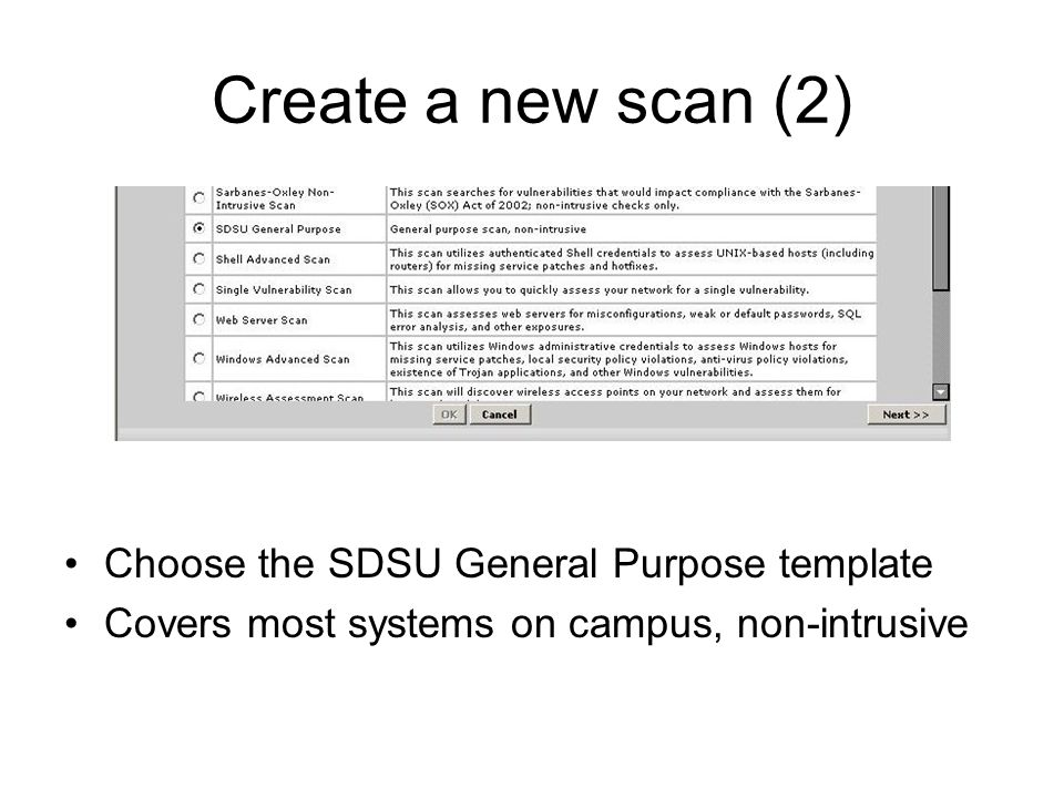 Create a new scan (2) Choose the SDSU General Purpose template