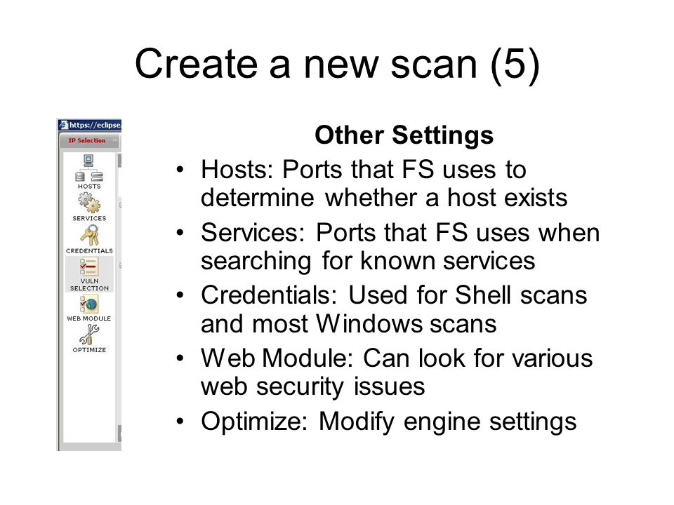 Create a new scan (5) Other Settings
