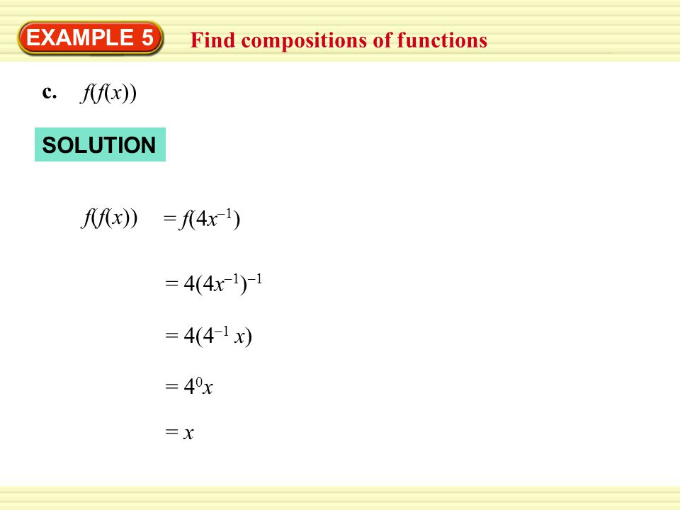 EXAMPLE 5 Find compositions of functions. c. f(f(x)) SOLUTION. f(f(x)) = f(4x–1) = 4(4x–1)–1.