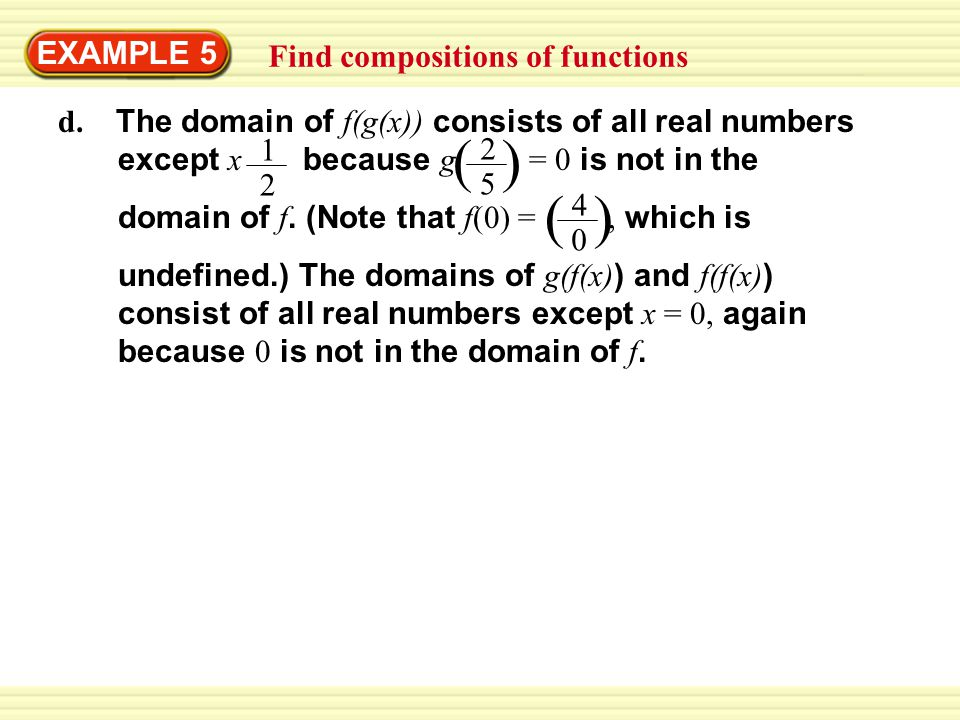 ( ) EXAMPLE 5 Find compositions of functions