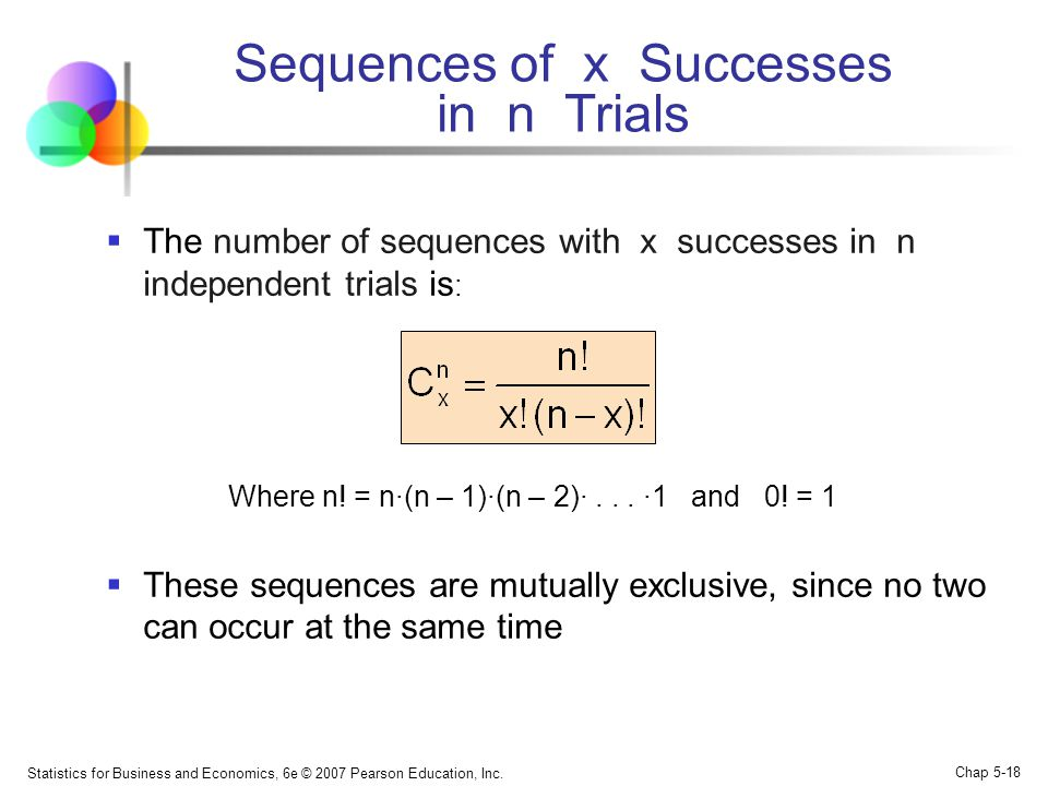 Sequences of x Successes in n Trials