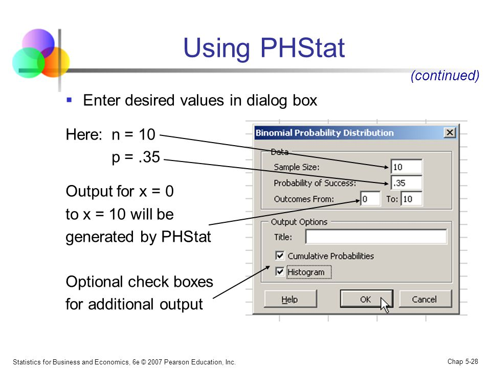 Using PHStat Enter desired values in dialog box Here: n = 10 p = .35