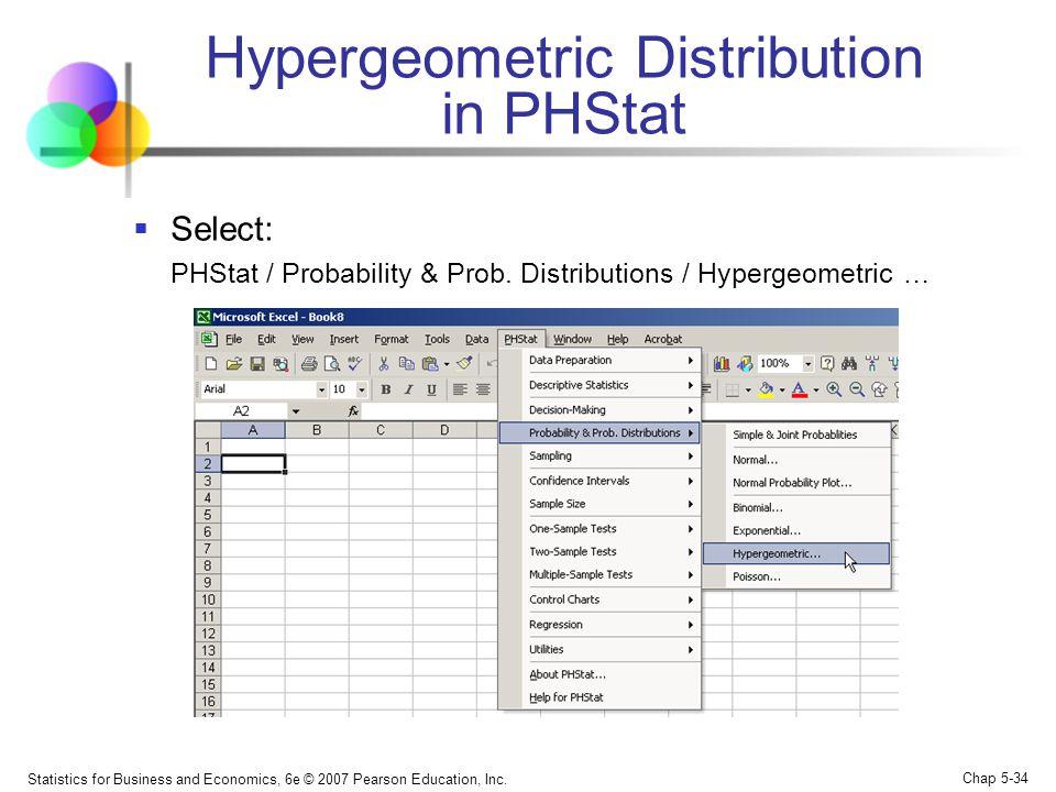 Hypergeometric Distribution in PHStat