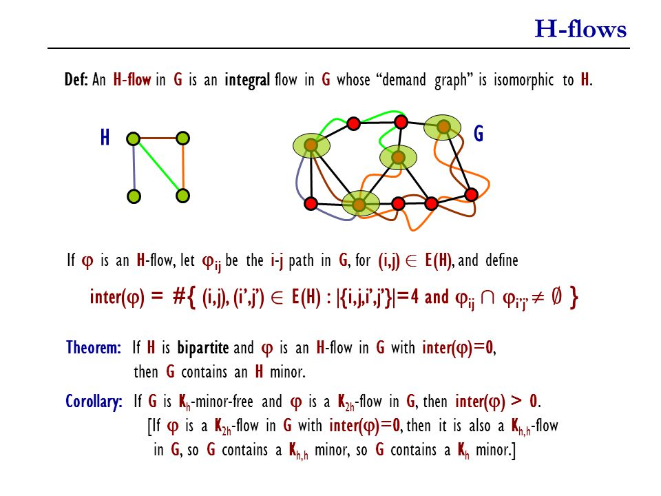 H-flows Def: An H-flow in G is an integral flow in G whose demand graph is isomorphic to H. H. G.