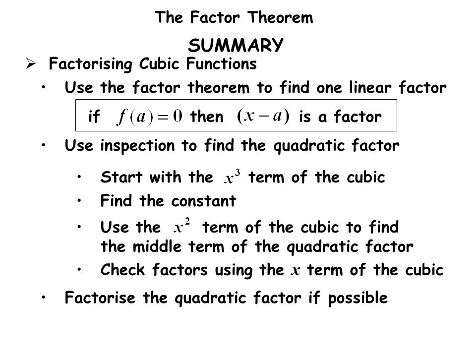 SUMMARY Factorising Cubic Functions