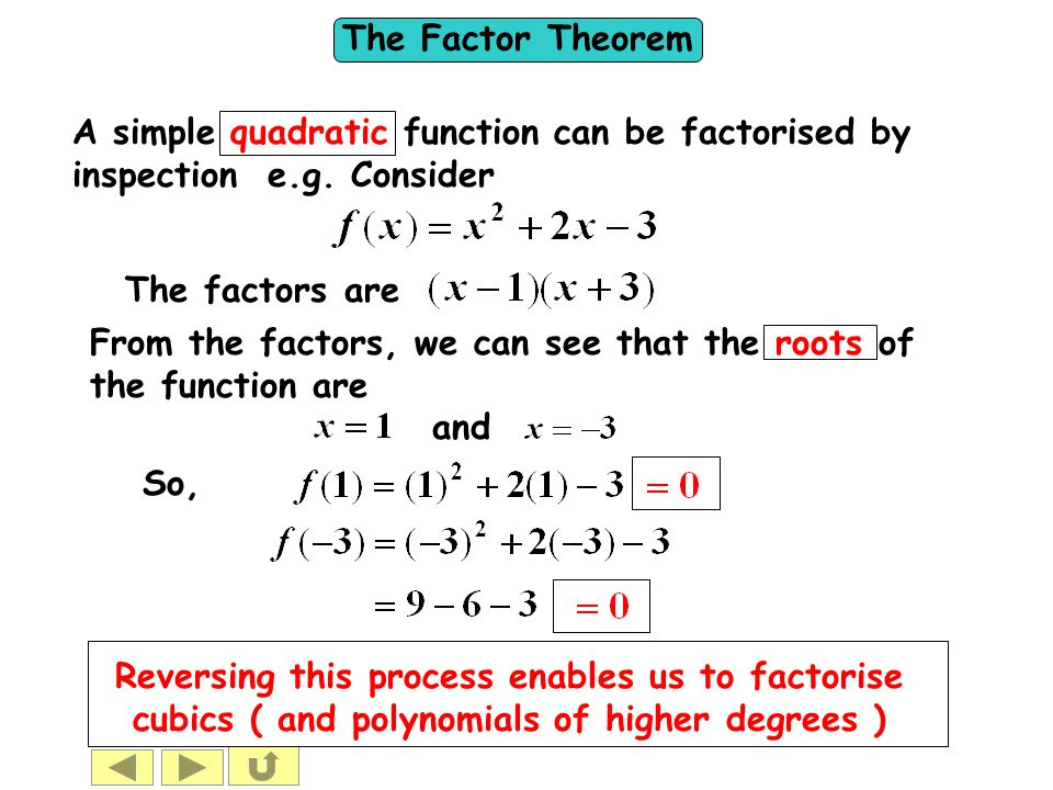 A simple quadratic function can be factorised by inspection e. g