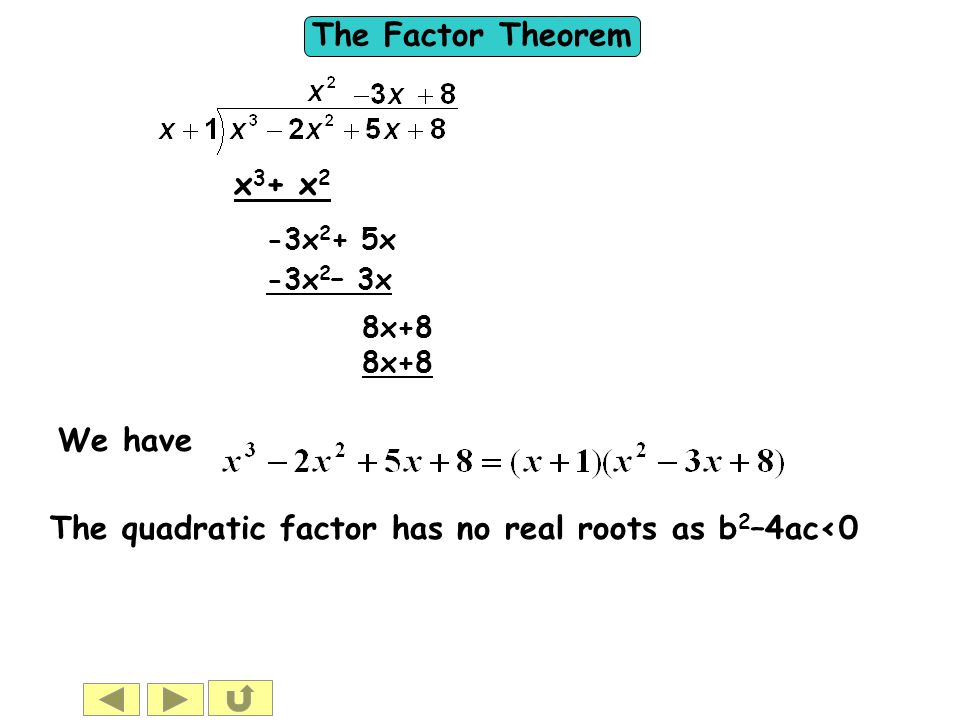 The quadratic factor has no real roots as b2–4ac<0