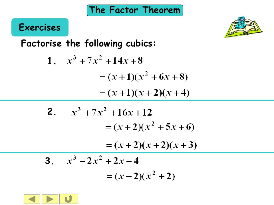 Exercises Factorise the following cubics: 1. 2. 3.