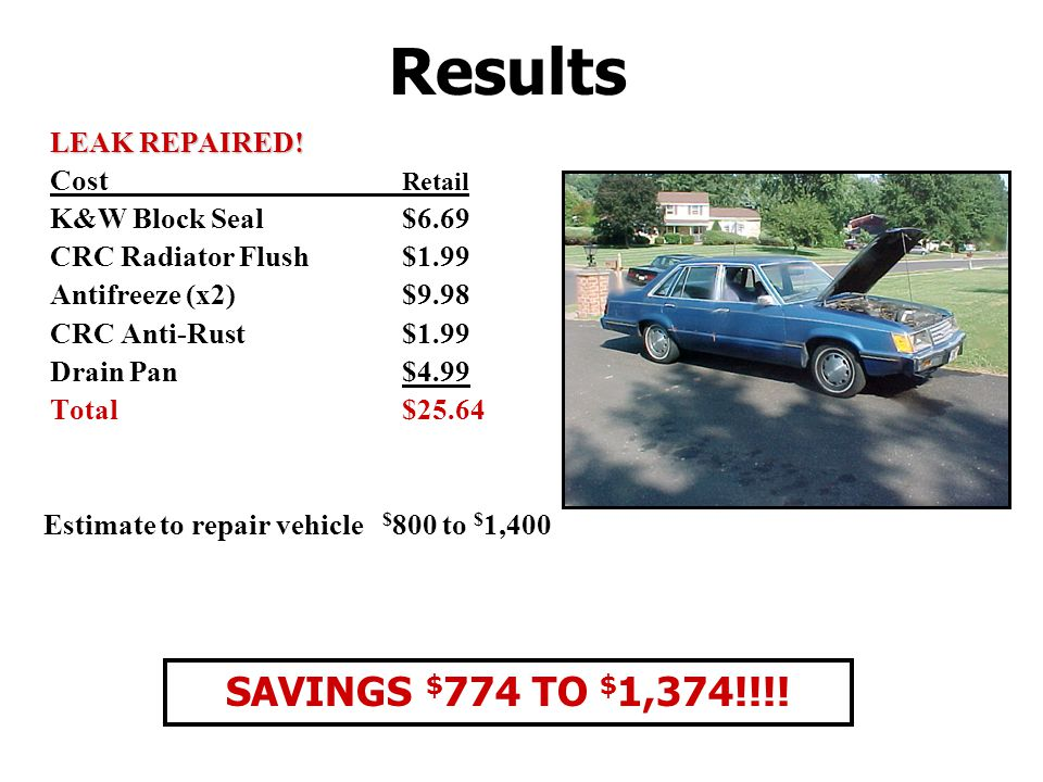 Results SAVINGS $774 TO $1,374!!!! LEAK REPAIRED! Cost Retail
