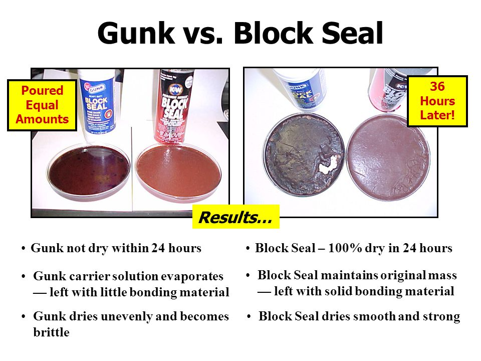 Gunk vs. Block Seal Results… Gunk not dry within 24 hours