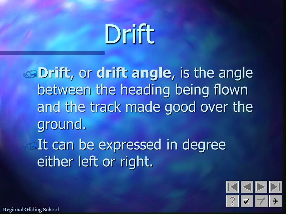 Drift Drift, or drift angle, is the angle between the heading being flown and the track made good over the ground.