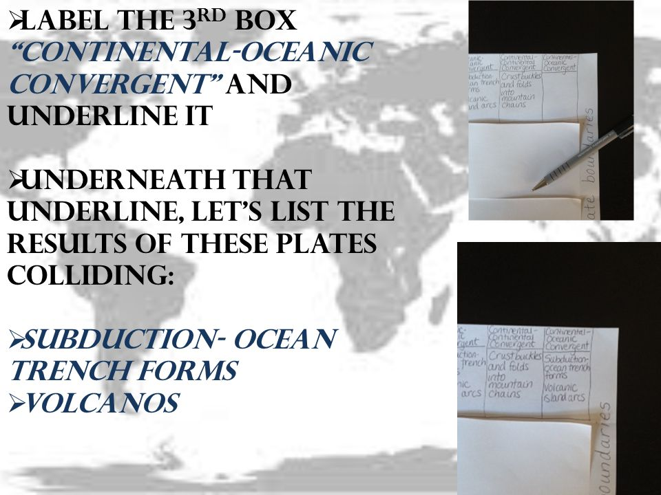 Label the 3rd box Continental-Oceanic Convergent and underline it