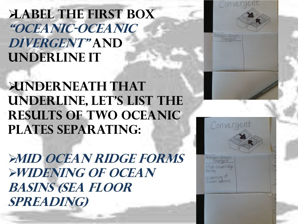 Label the first box Oceanic-Oceanic Divergent and underline it