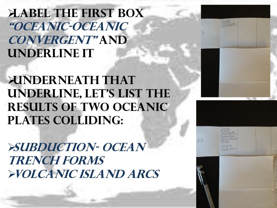 Label the first box Oceanic-Oceanic Convergent and underline it