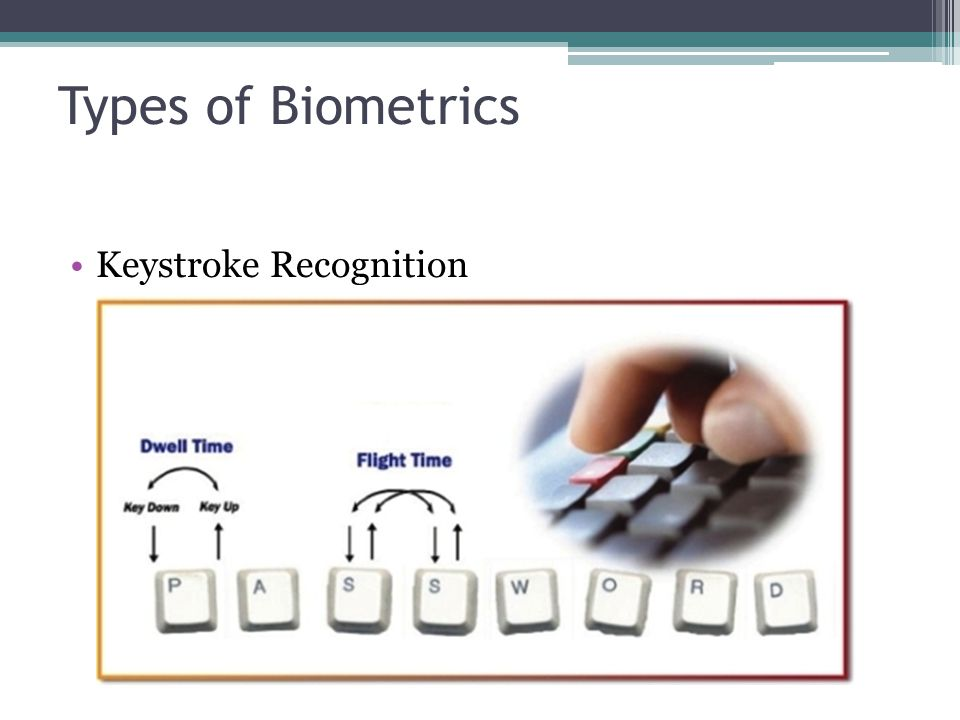 Types of Biometrics Keystroke Recognition Keystroke Recognition