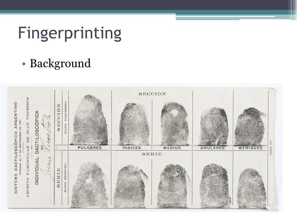 Fingerprinting Background