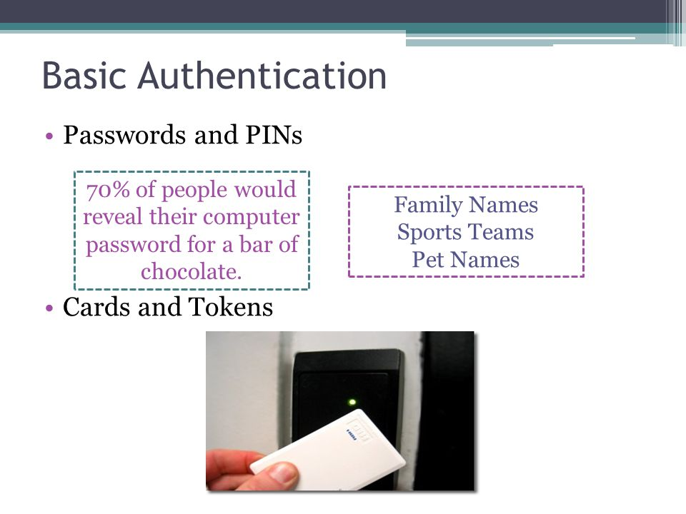 Basic Authentication Passwords and PINs Cards and Tokens