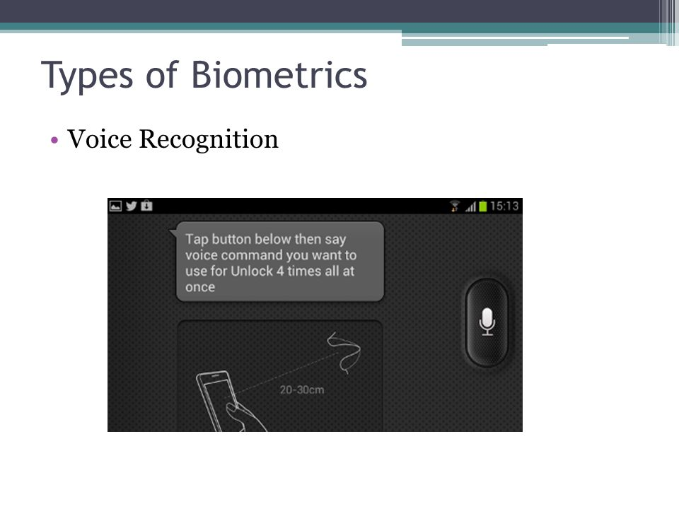 Types of Biometrics Voice Recognition Voice Recognition