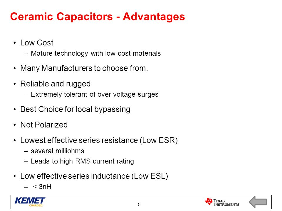 Ceramic Capacitors - Advantages