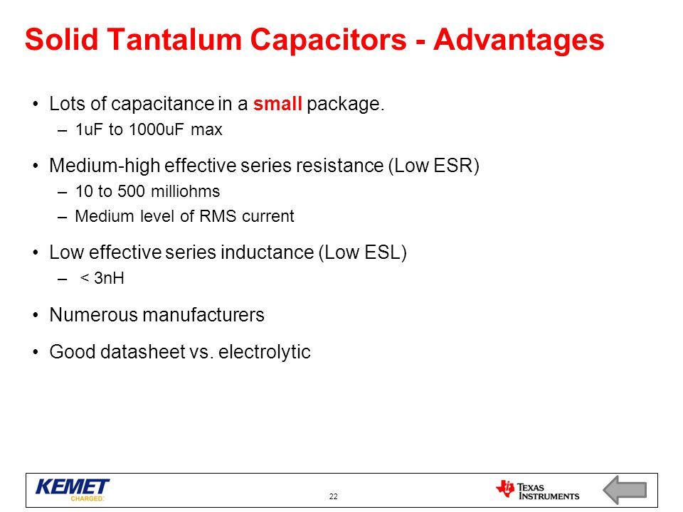 Solid Tantalum Capacitors - Advantages