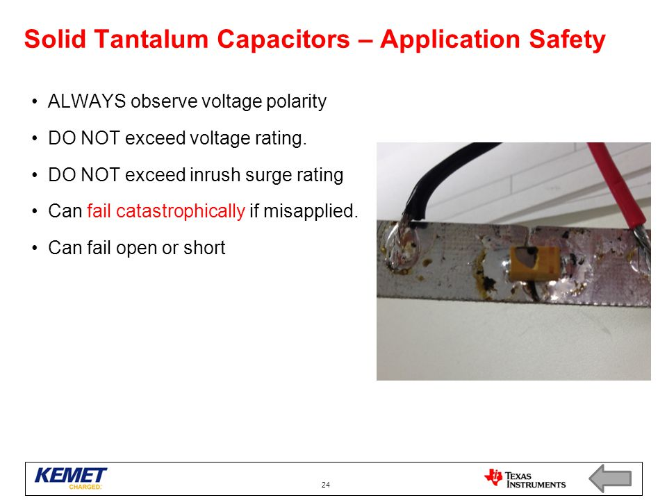 Solid Tantalum Capacitors – Application Safety