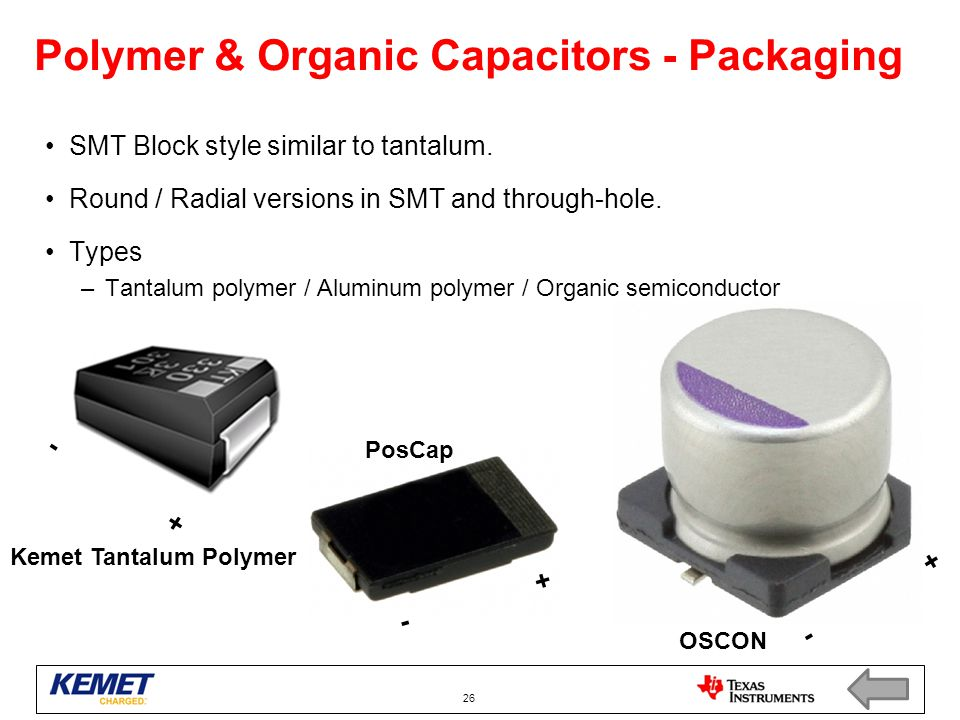 Polymer & Organic Capacitors - Packaging