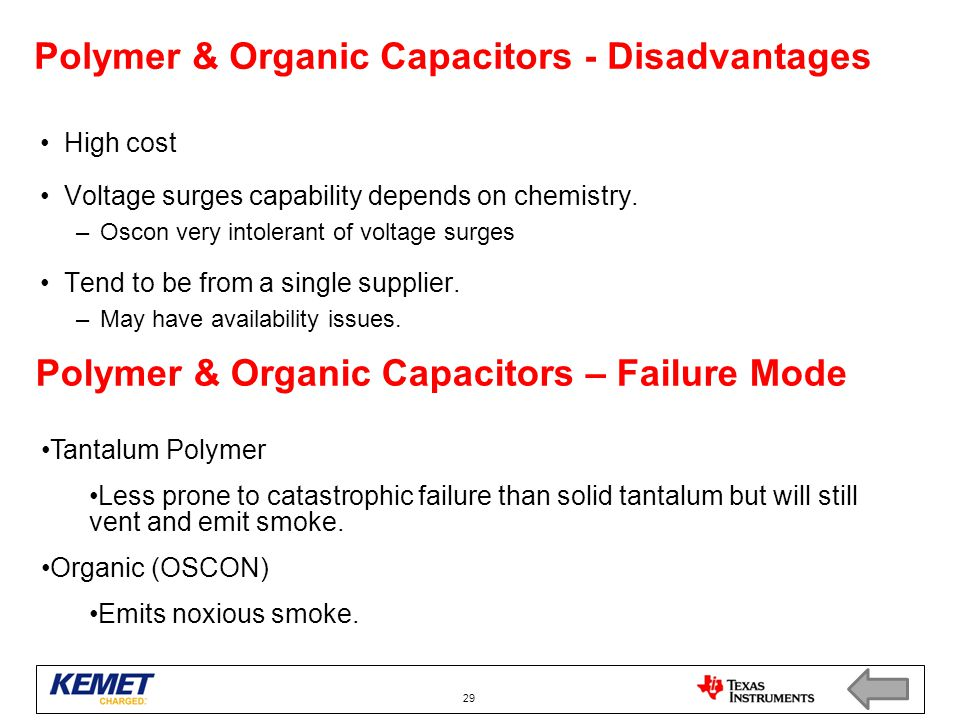 Polymer & Organic Capacitors - Disadvantages