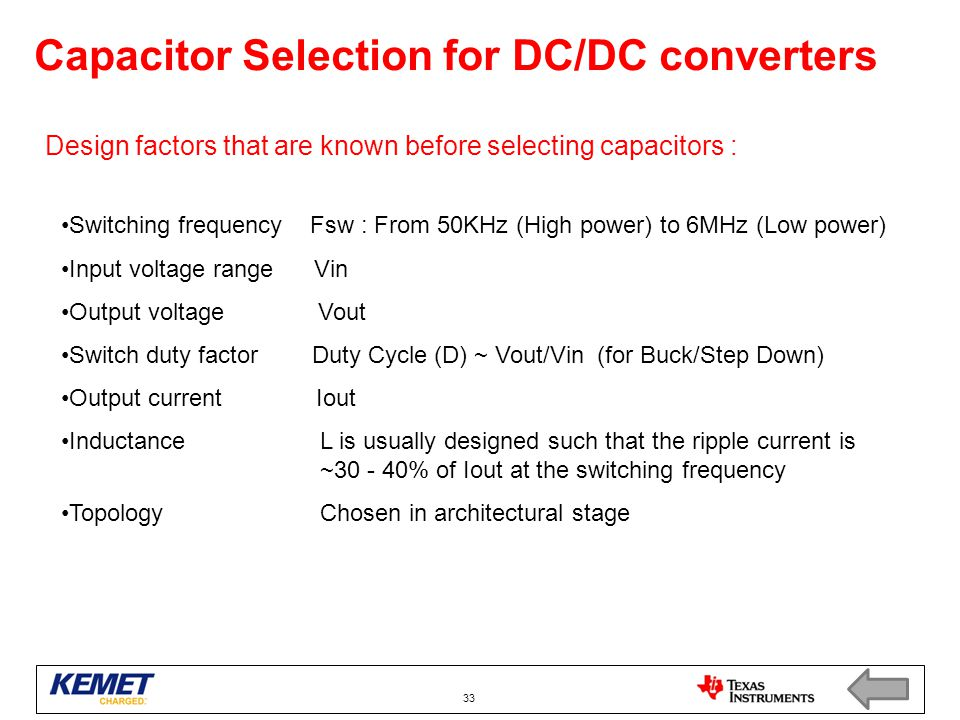 Capacitor Selection for DC/DC converters