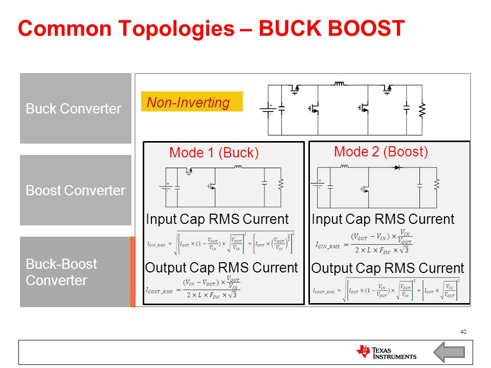 Common Topologies – BUCK BOOST
