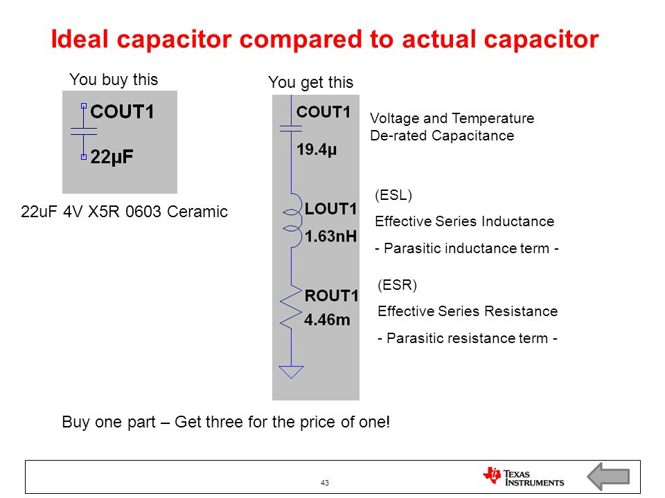Ideal capacitor compared to actual capacitor