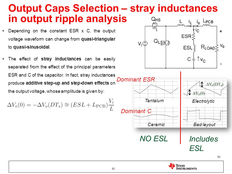Output Caps Selection – stray inductances in output ripple analysis