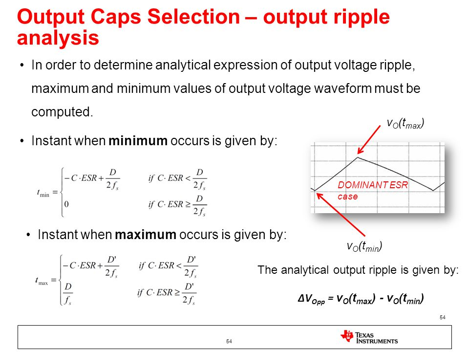 Output Caps Selection – output ripple analysis
