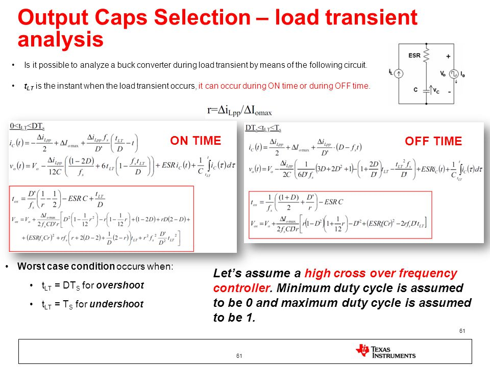 Output Caps Selection – load transient analysis