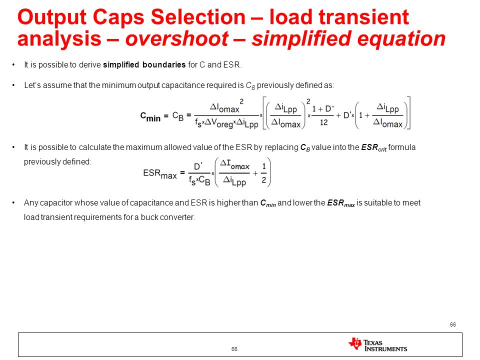 Output Caps Selection – load transient analysis – overshoot – simplified equation