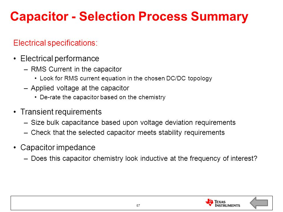 Capacitor - Selection Process Summary