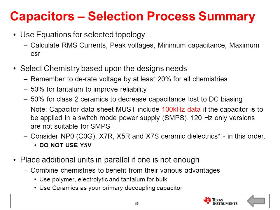 Capacitors – Selection Process Summary