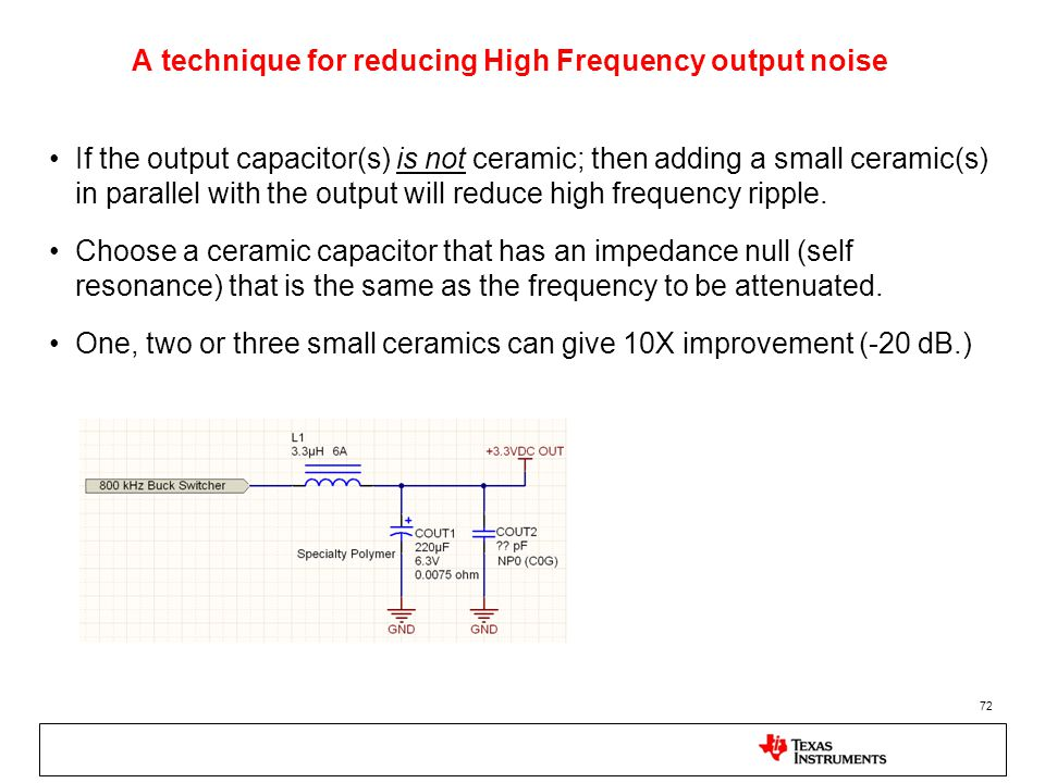 A technique for reducing High Frequency output noise