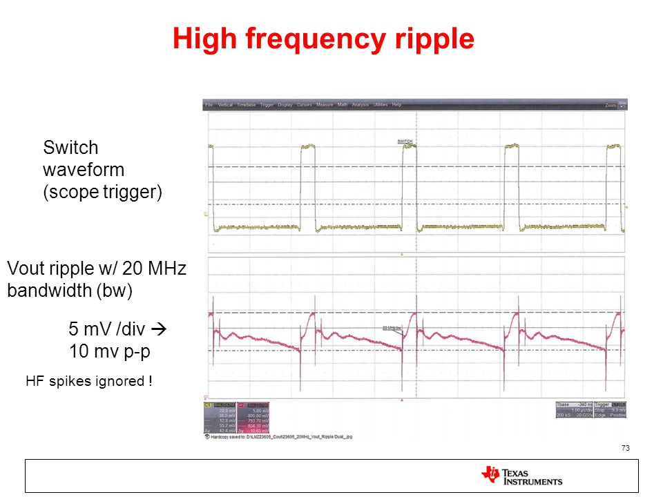 High frequency ripple Switch waveform (scope trigger)