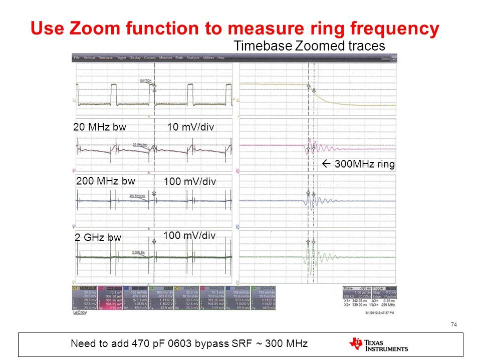 Use Zoom function to measure ring frequency