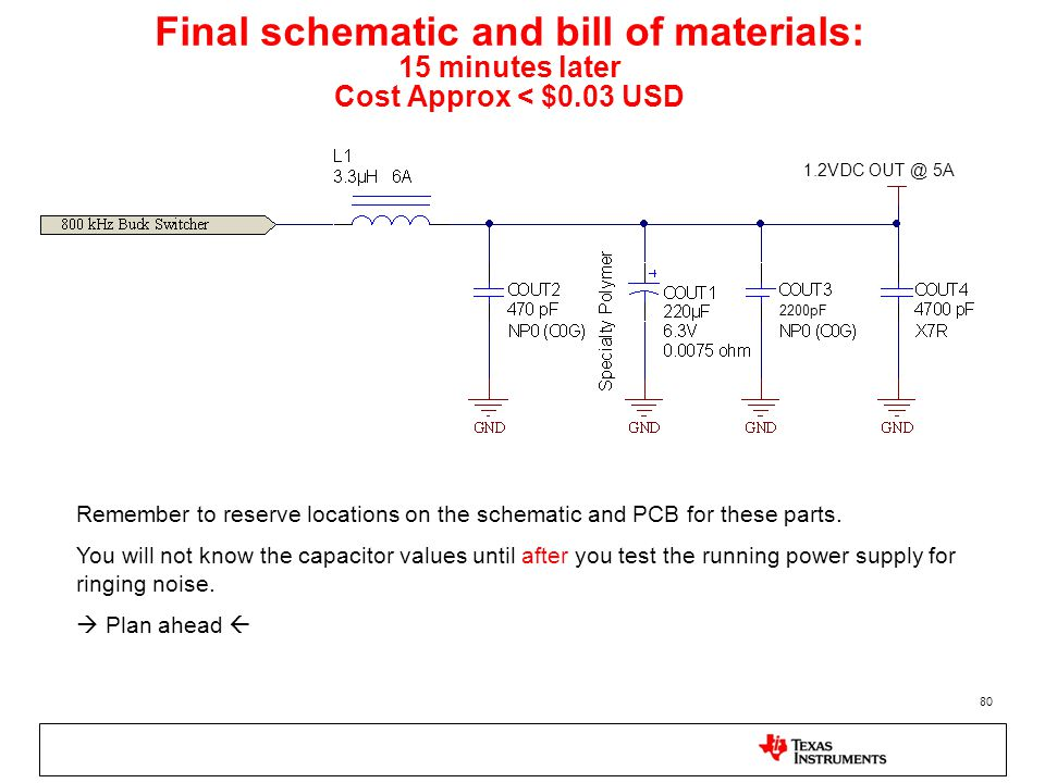 Final schematic and bill of materials: 15 minutes later Cost Approx < $0.03 USD