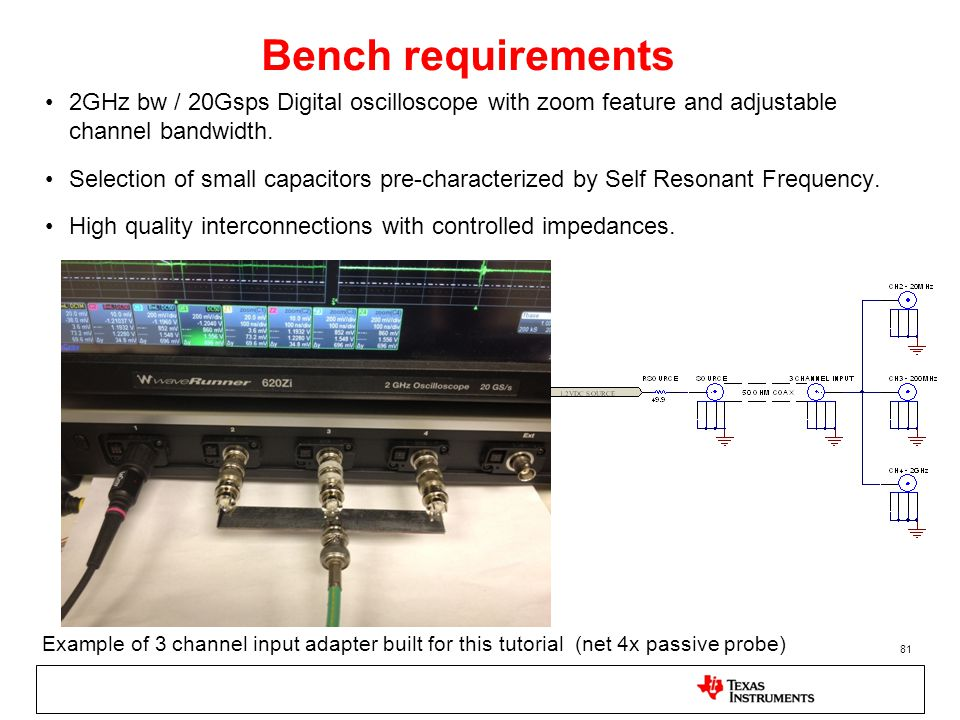 Bench requirements 2GHz bw / 20Gsps Digital oscilloscope with zoom feature and adjustable channel bandwidth.