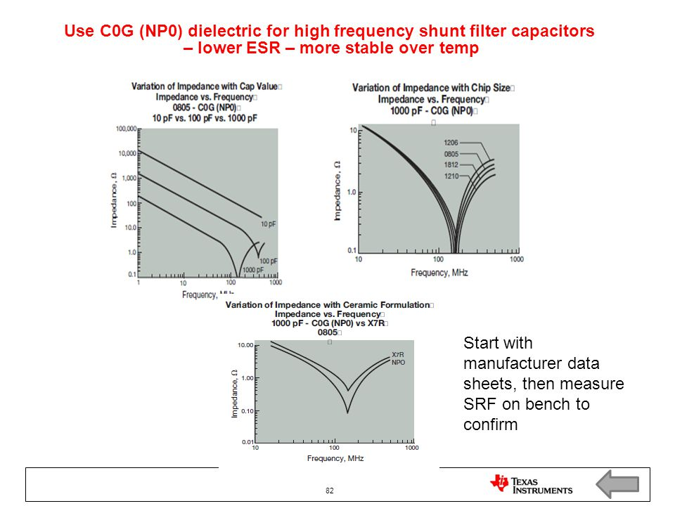 Use C0G (NP0) dielectric for high frequency shunt filter capacitors – lower ESR – more stable over temp