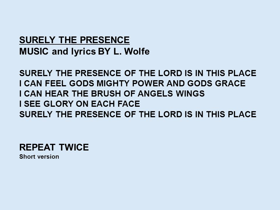 MUSIC and lyrics BY L. Wolfe