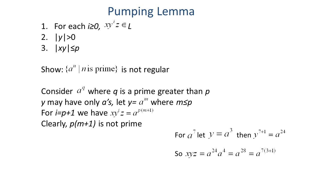 Pumping Lemma For each i≥0, L |y|>0 |xy|≤p Show: is not regular